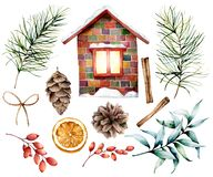 Watercolor Christmas decor set with ceramic house. Hand painted fir branches and cones, cinnamon, barberry, eucalyptu royalty free illustration