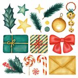 Watercolor Christmas Decoration set. Gifts, Sweets, Christmas Tree branches, etc. Hand drawn Winter Holiday design elements