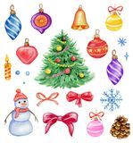 Watercolor Christmas decorations and design elements. Set of hand drawn watercolor Christmas design elements on a white background Royalty Free Stock Images