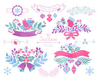 Watercolor christmas design elements. Vector Watercolor christmas design elements royalty free illustration