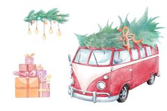 Watercolor christmas elements: car, fair tree, lights and gifts. Watercolor painting of Christmas holidays set of red retro car with fair tree, gifts and cosy royalty free illustration