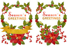 Watercolor Christmas elements. Watercolor Christmas wreath and seasonal decoration design element. Perfect for invitations; celebration cards and any printing or Stock Photos