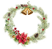 Watercolor christmas fir wreath with bells, holly, mistletoe and poinsettia. New year tree branch wreath for design. Print or background Royalty Free Stock Photo
