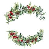 Watercolor Christmas floral composition. Hand painted snowberry and fir branches, red berries with leaves, pine cone. Isolated on white background. Christmas Royalty Free Stock Photo