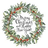 Watercolor Christmas floral wreath with berries. Hand painted snowberry branch with white and red berry isolated on. White background. Christmas botanical frame Stock Photography