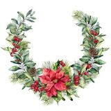 Watercolor Christmas floral wreath with poinsettia. Hand painted snowberry and fir branches, red berries with leaves. Pine cone isolated on white background Royalty Free Stock Photos