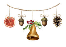 Watercolor christmas garland with bell, acorn, pine cone and orange Royalty Free Stock Photo