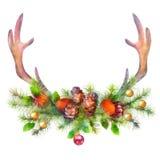 Watercolor Christmas Garland and Deer Antler Royalty Free Stock Photo