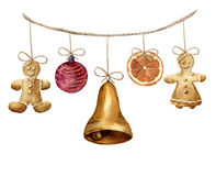Watercolor christmas garland with gingerbread man, ball, bell and orange. Party illustration for design, background or. Print stock illustration