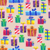 Watercolor Christmas gift boxes, isolated on brown background. S Royalty Free Stock Photography