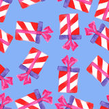 Watercolor Christmas gift boxes. Seamless pattern Stock Photo