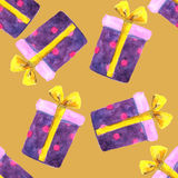 Watercolor Christmas gift boxes. Seamless pattern Royalty Free Stock Photos
