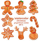 Watercolor Christmas gingerbread cookies. Funny set of isolated watercolor Christmas gingerbread cookies. Vector illustration royalty free illustration