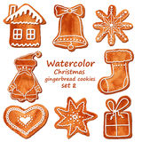 Watercolor Christmas gingerbread cookies Royalty Free Stock Photos