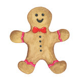 Watercolor christmas gingerbread man cookie on a white background. Perfect for wedding, holidays, invitation, birthday stock illustration
