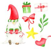Watercolor Christmas gnome set. Hand painted nordic winter elf dancing with candy cane. Gift box, red bow, mistletoe