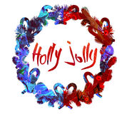 Watercolor Christmas Greeting poster. Text Holly Jolly. Xmas decorations.Garland. Wreath royalty free stock photography