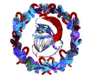 Watercolor Christmas Greeting poster. Text Holly Jolly. Xmas decorations.Garland. Wreath stock photography