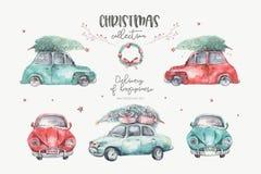 Watercolor christmas holiday card transportation illustration. Merry Xmas winter tree design. Hand painted New year. Watercolor christmas holiday card royalty free illustration