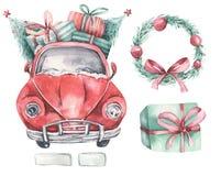 Watercolor christmas holiday card transportation illustration. Merry Xmas winter tree design with wreath. Hand painted. Watercolor christmas holiday card stock illustration