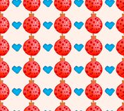 Watercolor Christmas holiday seamless pattern with balls and hearts. Winter New Year theme. royalty free illustration