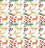 Watercolor Christmas holiday seamless pattern with berries, deer and happy new year copy. Winter New Year theme. royalty free illustration