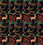 Watercolor Christmas holiday seamless pattern with berries, deer, happy New Year copy. Winter New Year theme. royalty free illustration