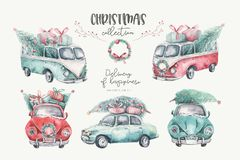 Watercolor christmas holiday seamless pattern with red and green transportation illustration. Merry Xmas auto winter