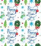 Watercolor Christmas holiday seamless pattern with snowman, trees, deer and happy new year copy. Winter New Year theme. vector illustration
