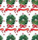 Watercolor Christmas holiday seamless pattern with wreath and bow. Winter New Year theme. stock illustration