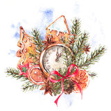 Watercolor Christmas illustration with gingerbread cookies and p. Watercolor Christmas illustration with gingerbread cookies, fir branches and old vintage pocket Stock Photo