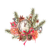 Watercolor Christmas illustration with gingerbread cookies and p. Watercolor Christmas illustration with gingerbread cookies, fir branches and old vintage pocket Royalty Free Stock Images