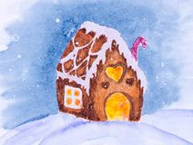 Watercolor christmas illustration with gingerbread house royalty free illustration