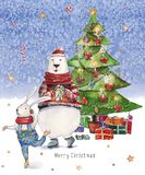 Watercolor Christmas illustration with Christmas tree, presents, colorful bear and ski dancing hare on icy-blue watercolor