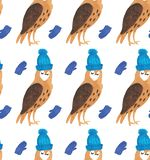 Watercolor Christmas illustrations seamless pattern with owls in hats in mittens. Winter New Year theme. vector illustration