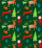 Watercolor Christmas illustrations seamless pattern with Santa Clause, deer, trees and berries . Winter New Year theme. royalty free illustration
