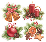 Watercolor Christmas illustrations Stock Image