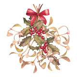 Watercolor Christmas Mistletoe and Holly Bouquet Royalty Free Stock Images