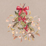 Watercolor Christmas Mistletoe and Holly Bouquet Royalty Free Stock Image