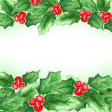 Watercolor Christmas and new year decorations Stock Photos
