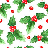 Watercolor Christmas and new year decorations. Stock Photo