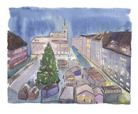 Watercolor christmas night town Stock Image