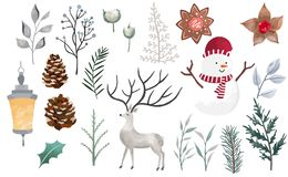 Free Watercolor Christmas Object Collection With Christmas Tree,snowman,reindeer.Vector Illustration For Icon,logo,sticker,printable Royalty Free Stock Image - 163799466