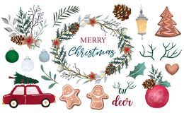 Free Watercolor Christmas Object Collection With Pine Cone,car,wreath,light.Vector Illustration For Icon,logo,sticker,printable Royalty Free Stock Photography - 163798267