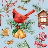 Watercolor Christmas pattern with cardinal and holiday symbols. Hand painted red bird, bells, house, candy cane, pine royalty free illustration