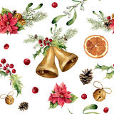 Watercolor christmas pattern with classic decor. New year tree ornament with bell, holly, mistletoe, poinsettia, orange Stock Photography