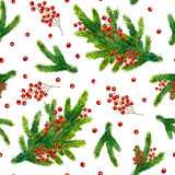 Watercolor Christmas pattern with fir branches and red berries Royalty Free Stock Images