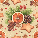 Watercolor Christmas pattern Royalty Free Stock Photos