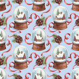 Watercolor christmas pattern Royalty Free Stock Photo
