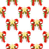 Watercolor Christmas pattern with red bows,golden stars,holly leaves and berries. seamless holiday background. Royalty Free Stock Photography
